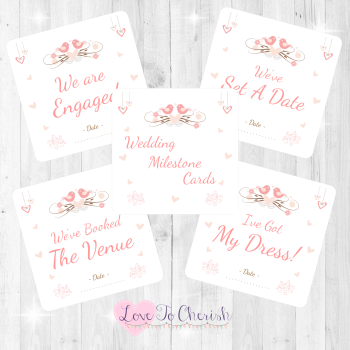 Shabby Chic Hanging Hearts & Love Birds Wedding Milestone/Journey Cards