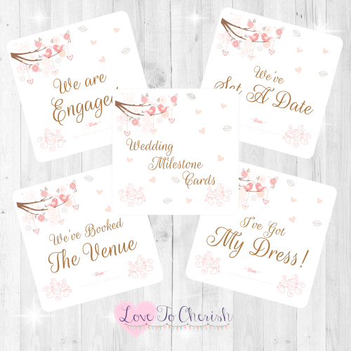 Shabby Chic Hearts & Love Birds in Tree Wedding Milestone/Journey Cards