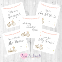 Vintage Bike/Bicycle Shabby Chic Pink Lace Bunting Wedding Milestone/Journey Cards