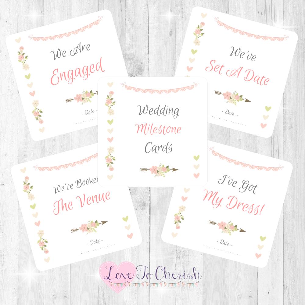 Vintage Flowers & Hearts Wedding Milestone/Journey Cards