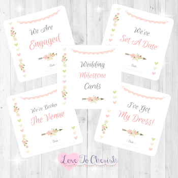Vintage Flowers & Hearts Wedding Milestone Cards