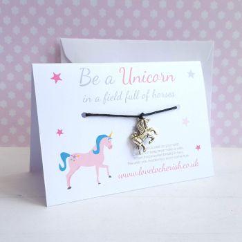 Be A Unicorn In A Field Of Horses - Friendship / Wish Bracelet