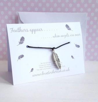 Feathers Appear When Angels Are Near - Friendship / Wish Bracelet