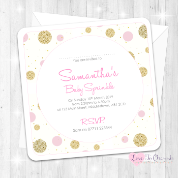 Polka Dot Invitations - Pink - Baby Sprinkle Design