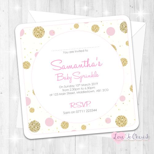 polka dot invitations pink baby sprinkle design