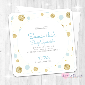 Polka Dot Invitations - Blue - Baby Sprinkle Design