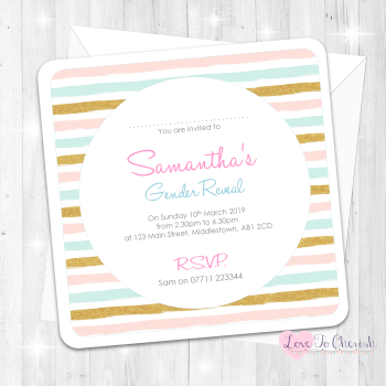Pink & Blue Stripe Invitations - Gender Reveal Design