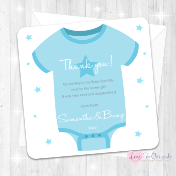 Baby Vest Thank You Cards - Blue - Baby Sprinkle Design