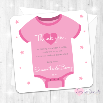 Baby Vest Thank You Cards - Pink - Baby Sprinkle Design