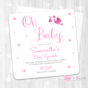 Oh Baby Invitations- Pink - Baby Sprinkle Design