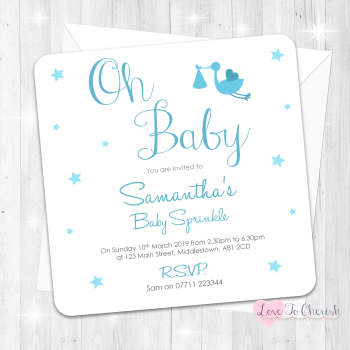 Oh Baby Invitations - Blue - Baby Sprinkle Design