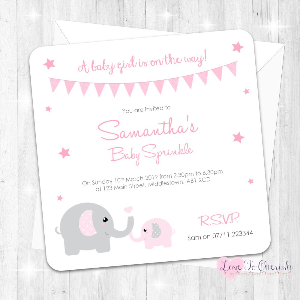 Mummy & Baby Elephants - Pink - Baby Sprinkle Design