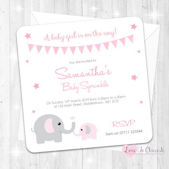 Mummy & Baby Elephants Invitations - Pink - Baby Sprinkle Design