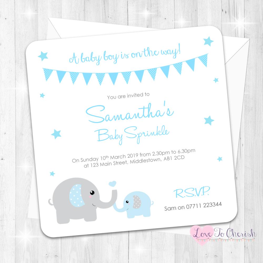 Mummy & Baby Elephants - Blue - Baby Sprinkle Design