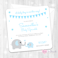 Mummy & Baby Elephants Invitations - Blue - Baby Sprinkle Design