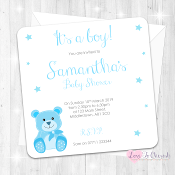 Baby Bear Invitations - Blue - Baby Shower Design