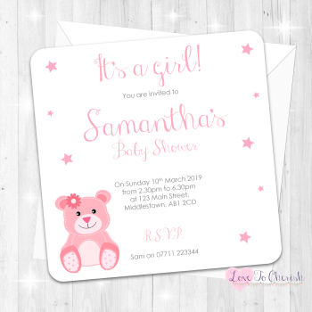 Baby Bear Invitations - Pink - Baby Shower Design
