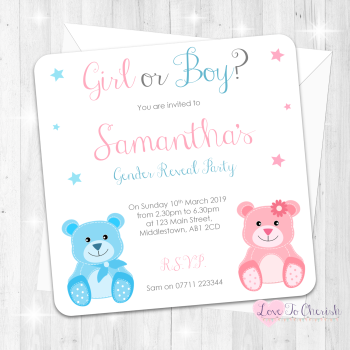 Baby Bear Invitations - Boy or Girl - Gender Reveal Party Design