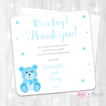 Baby Bear Thank You Cards - Blue - Baby Shower Design