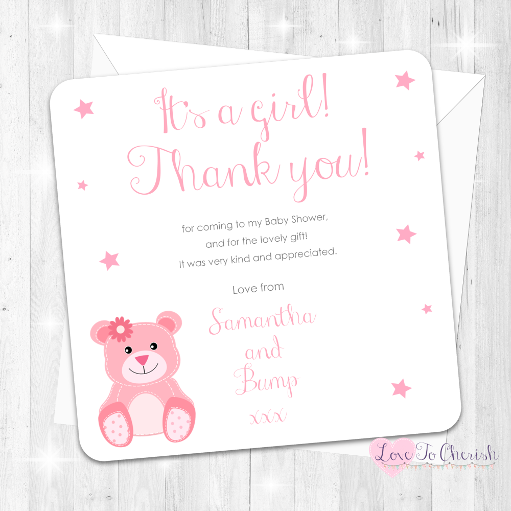 Baby Bear Thank You Cards - Pink - Baby Shower Design