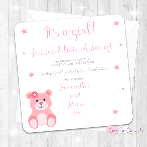 Baby Bear Birth Annoucement Cards - Pink - Baby Shower Design