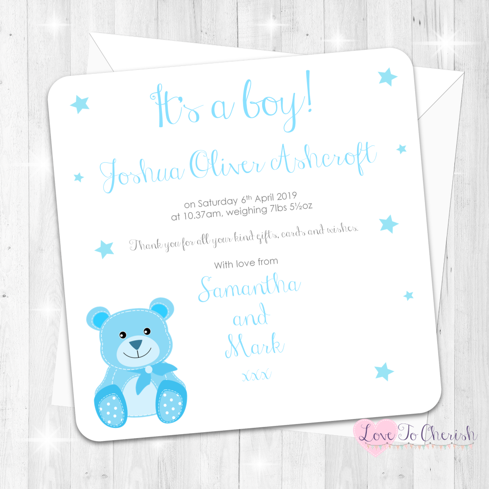 Baby Bear Birth Announcement Cards - Blue - Baby Shower Design