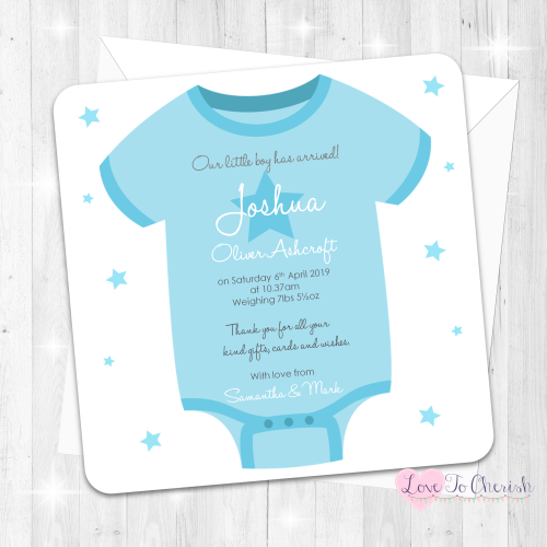 Baby Vest Birth Announcement Cards - Blue Design