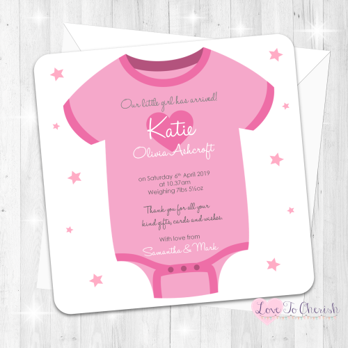 Baby Vest Birth Announcement Cards - Pink Design