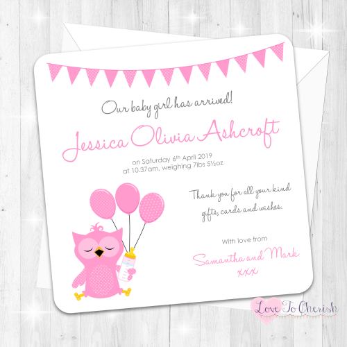 Cute Pink Owl Birth Announcement Cards