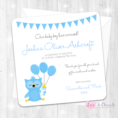 Cute Blue Owl Birth Announcement Cards