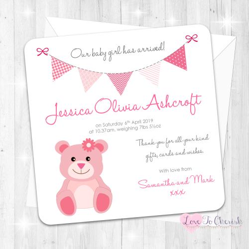 Cute Pink Teddy Bear Birth Announcement Cards
