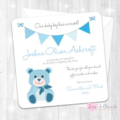 Cute Blue Teddy Bear Birth Announcement Cards