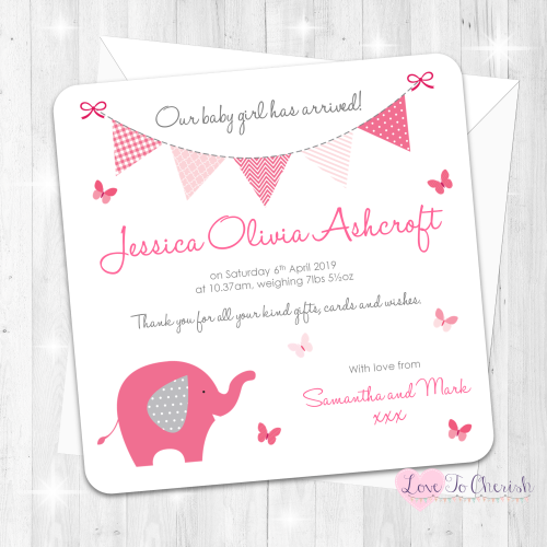 Elephant & Butterflies Pink Birth Announcement Cards