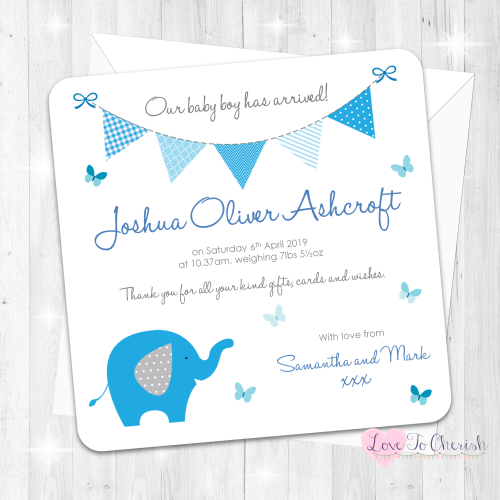 Elephant & Butterflies Blue Birth Announcement Cards