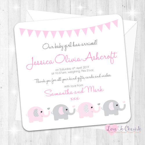 Elephants & Hearts Pink Birth Announcement Cards