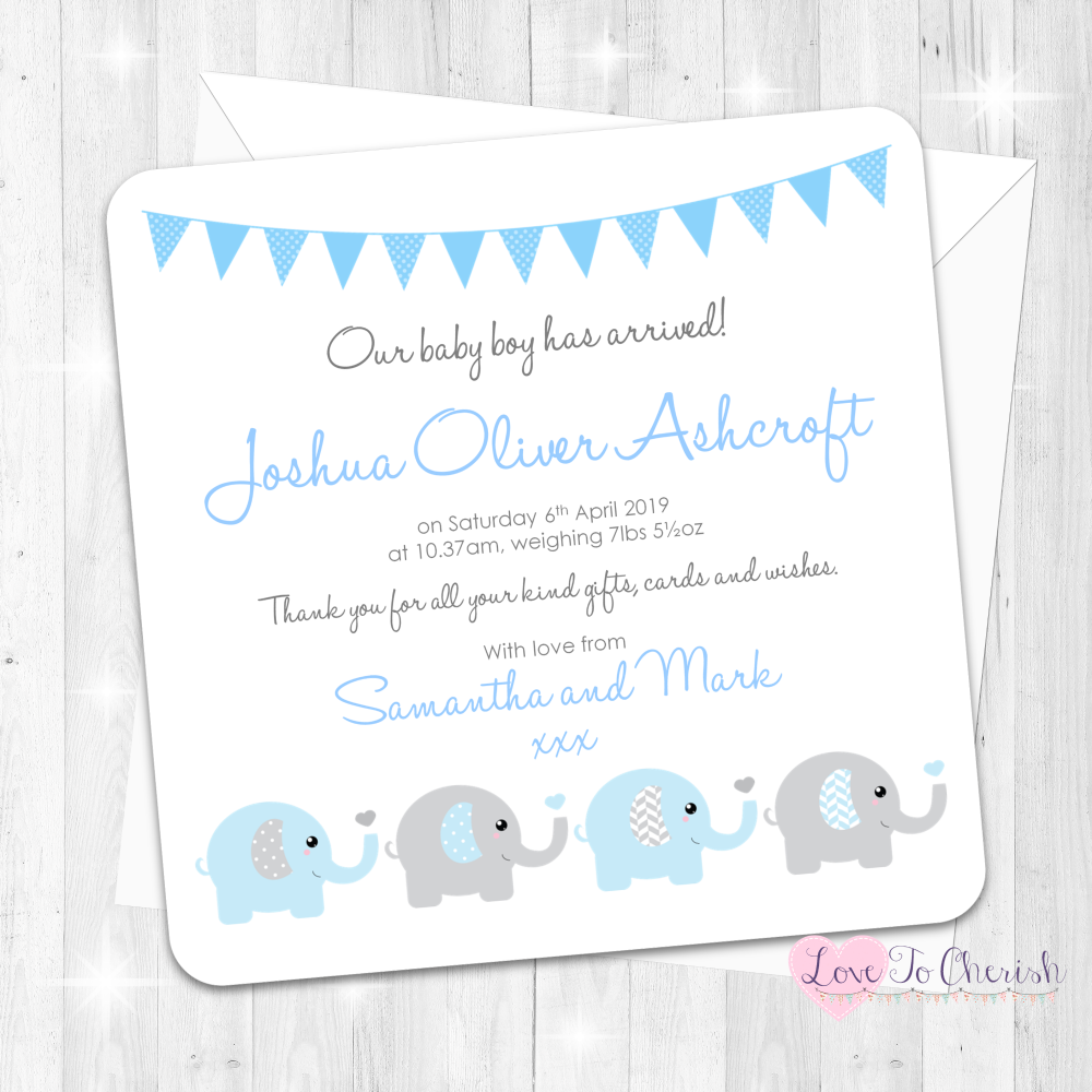Elephants & Hearts Blue Birth Announcement Cards