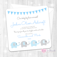 Elephants & Hearts Blue Baby Boy Birth Announcement Cards