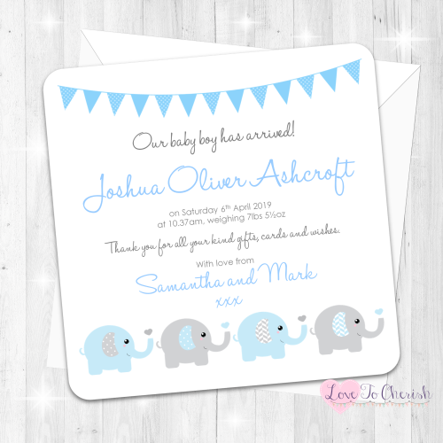 Elephants & Hearts Blue Birth Announcement Cards