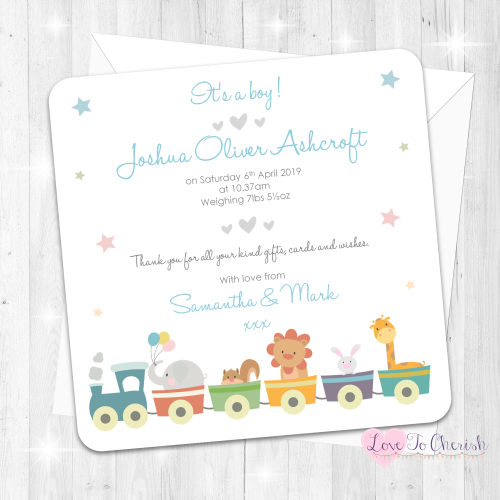 Jungle Animals Train Blue Baby Boy Birth Announcement Cards