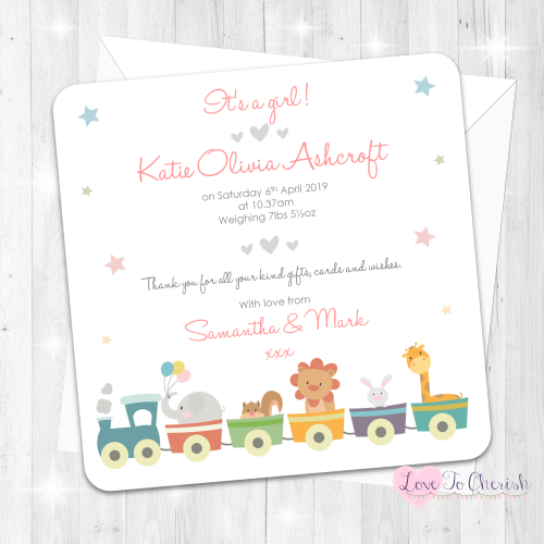 Jungle Animals Train Pink Baby Girl Birth Announcement Cards