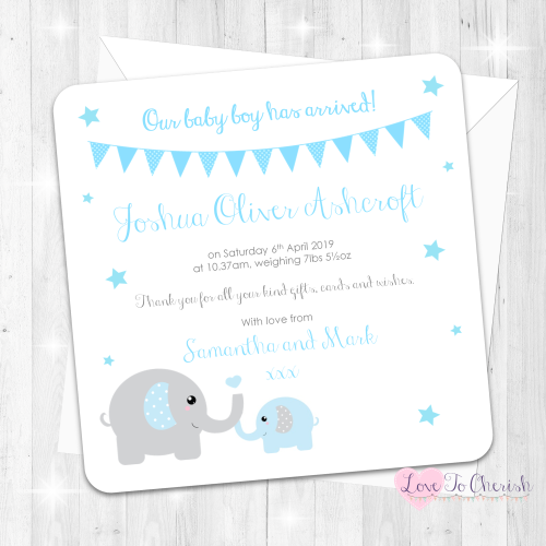 Mummy & Baby Elephants - Blue Baby Boy Birth Announcement Cards