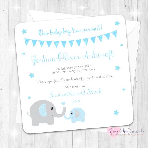 Mummy & Baby Elephants - Blue Baby Boy Birth Announcement Cards