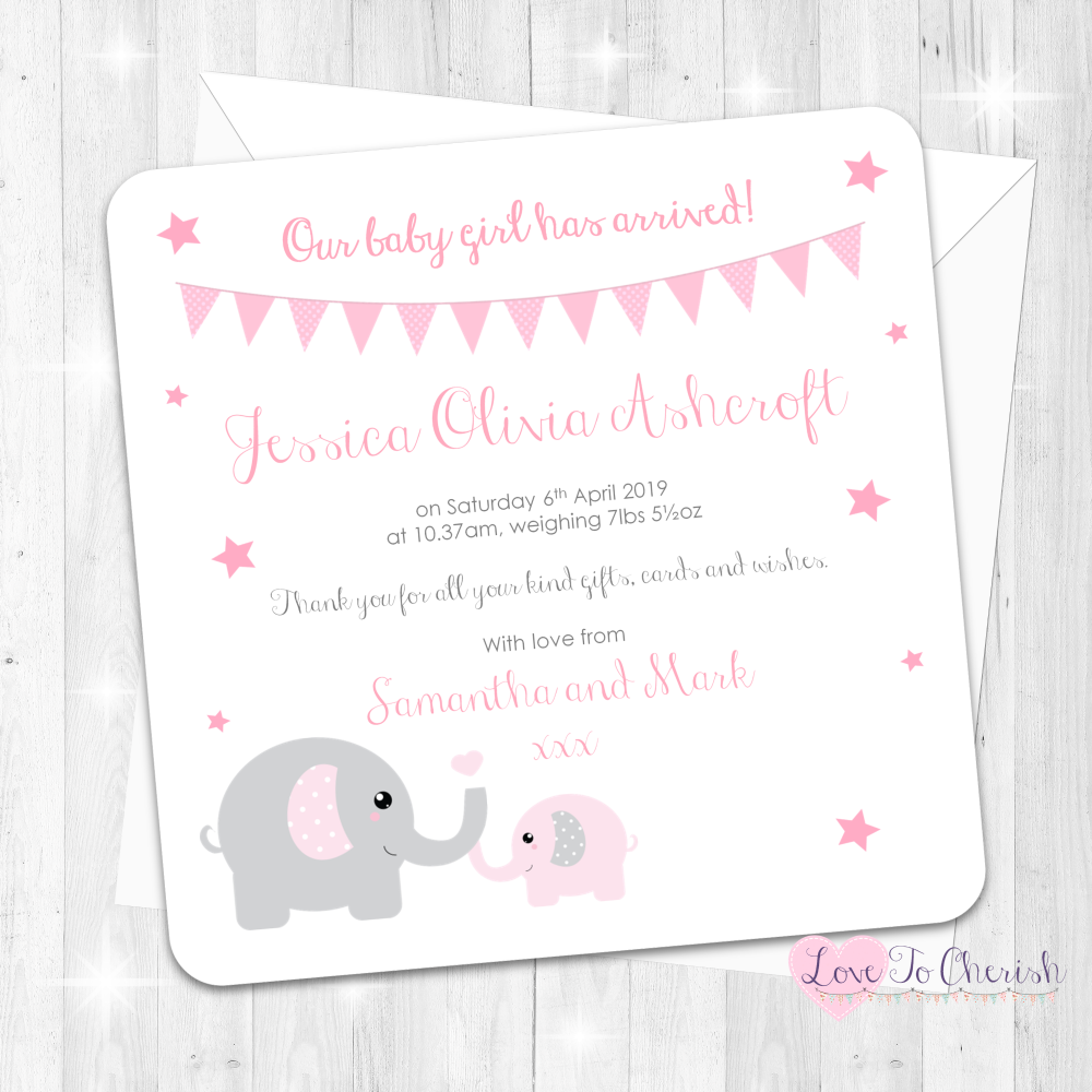 Mummy & Baby Elephants - Pink Baby Girl Birth Announcement Cards