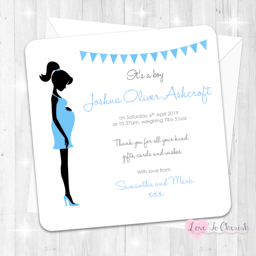 Mummy Bump Blue Baby Boy Birth Announcement Cards