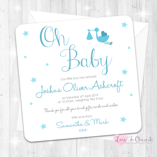 Oh Baby - Blue Baby Boy Birth Announcement Cards