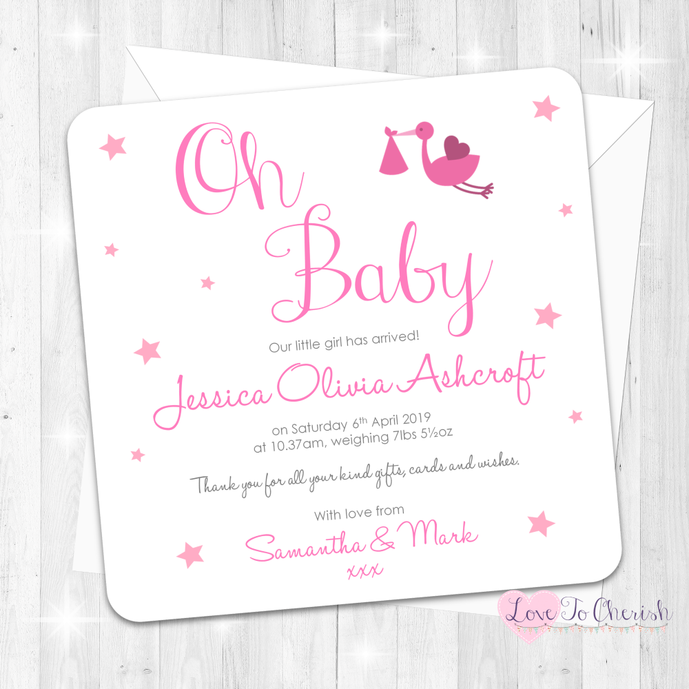 Oh Baby - Pink Baby Girl Birth Announcement Cards
