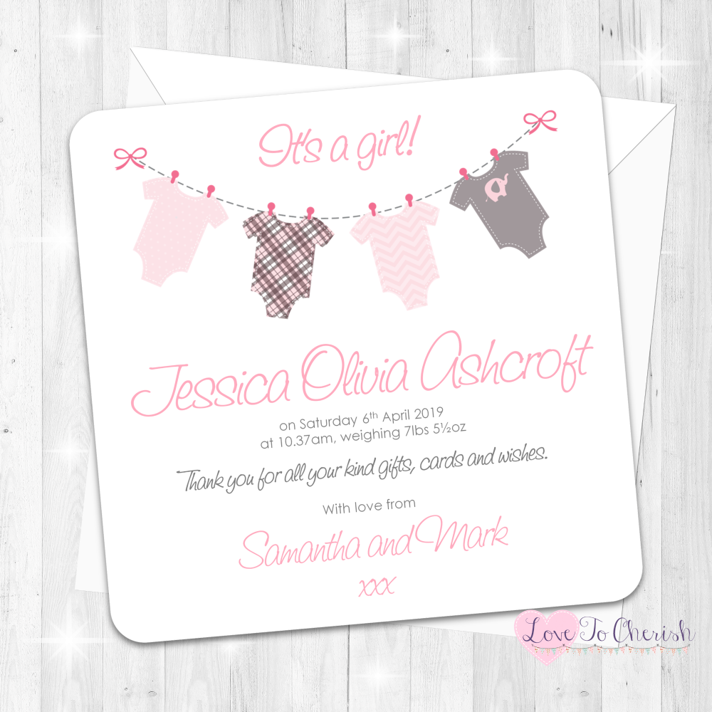 Onsie/Vest Clothes Line Pink Baby Girl Birth Announcement Cards