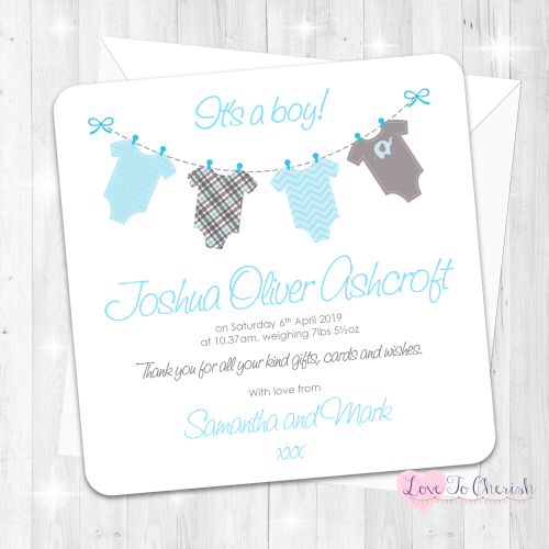 Onsie/Vest Clothes Line Blue Baby Boy Birth Announcement Cards
