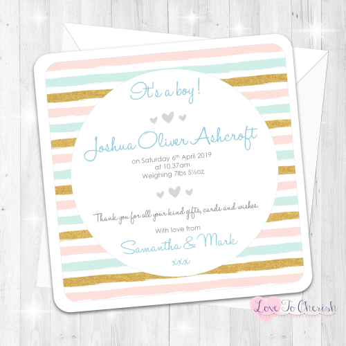 Pink & Blue Stripe Baby Boy Birth Announcement Cards