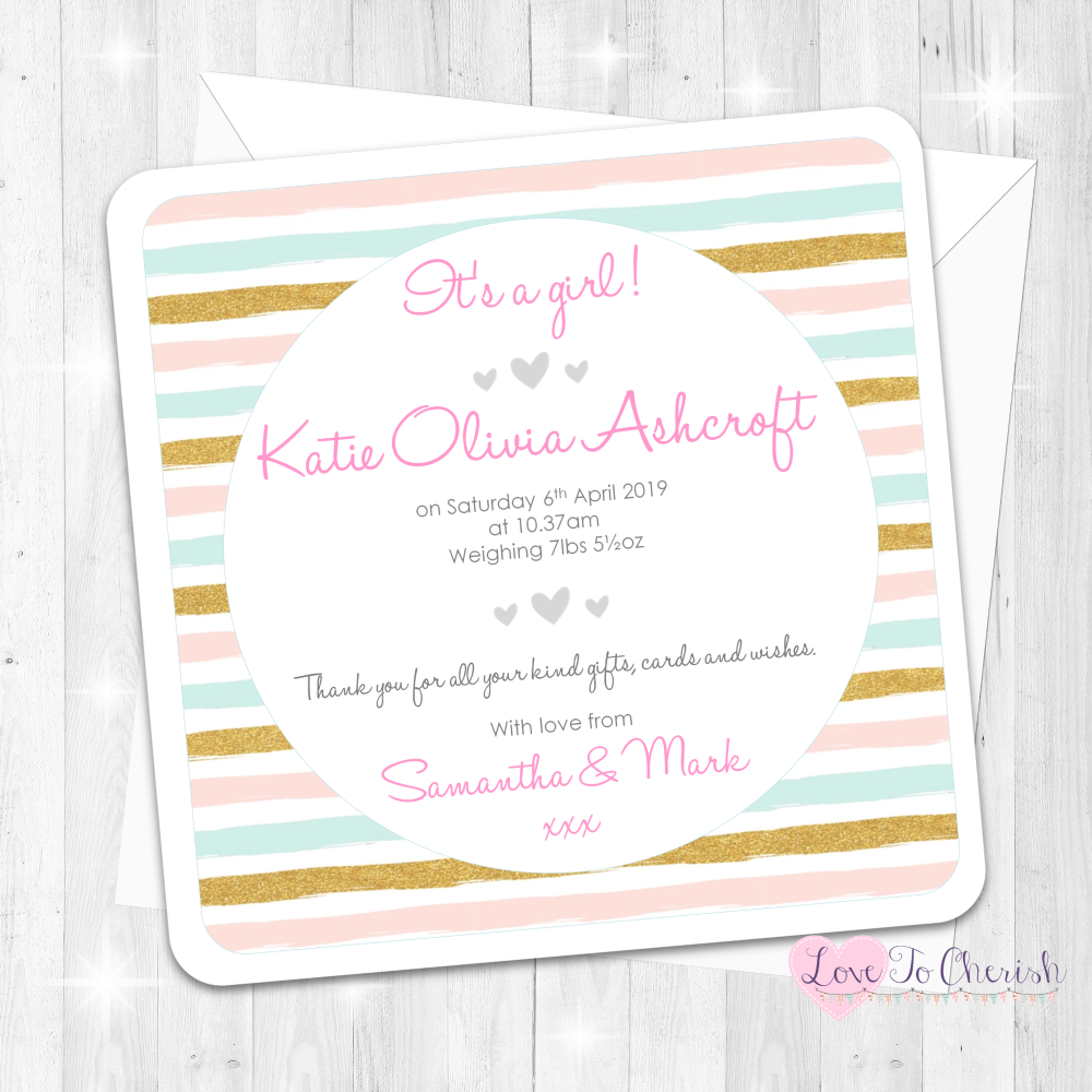 Pink & Blue Stripe Baby Girl Birth Announcement Cards